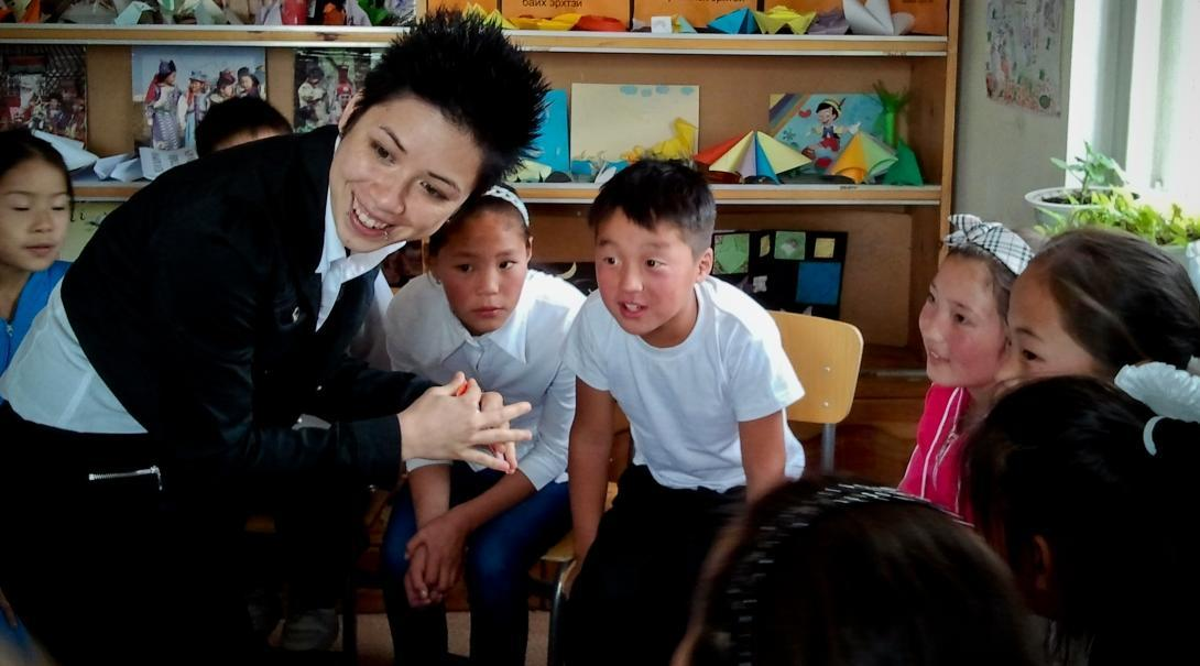 A Projects Abroad intern runs an activity as part of her Social Work internship in Mongolia